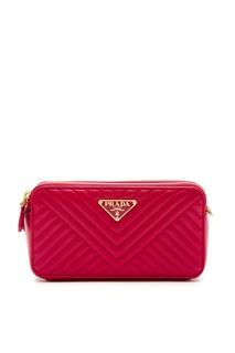 Красная сумка Diagramme с фактурной отделкой Prada