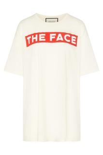 Молочная футболка с контрастной надписью Gucci