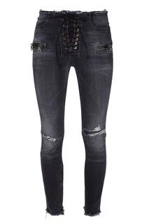 Черные джинсы со шнуровкой Unravel Project