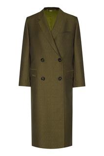 Зеленое шерстяное пальто Fendi