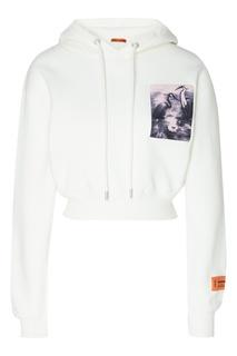 Короткое худи белого цвета с принтом Heron Preston