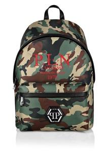 Камуфляжный рюкзак с контрастной отделкой Philipp Plein