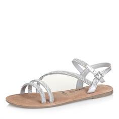 Серебристые сандалии с тонкими ремешками Tamaris