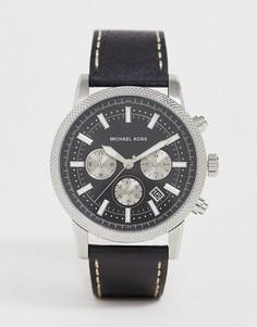 Часы с хронографом и кожаным ремешком Michael Kors - Черный