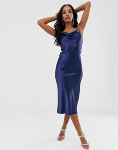 Темно-синее атласное платье миди Club L London - Темно-синий