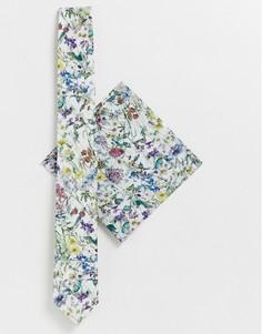 Галстук и платок для нагрудного кармана с мелким цветочным принтом Gianni Feraud - Белый