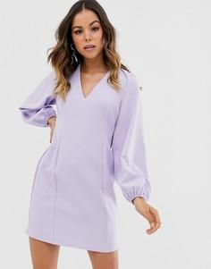 Платье мини с рукавами в стиле кейпа и открытой спиной ASOS DESIGN - Фиолетовый