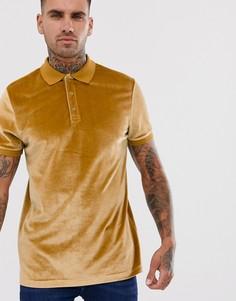 Коричневая велюровая футболка-поло ASOS DESIGN - Коричневый