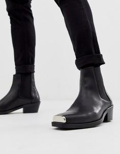 Черные кожаные ботильоны челси в стиле вестерн с металлической фурнитурой ASOS DESIGN - Черный