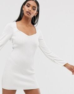 Платье мини с присборенной отделкой ASOS DESIGN - Белый