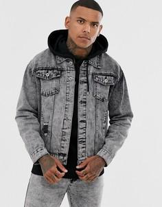 Джинсовая куртка с эффектом кислотной стирки Liquor N Poker - Черный