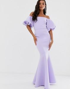 Сиреневое платье макси с баской True Violet Black Label - Синий