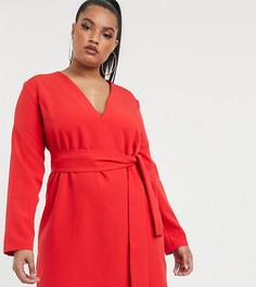 Красное приталенное платье-смокинг с поясом Vesper Curve - Красный