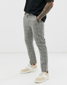 Серые брюки в клетку с поясом Native Youth - Серый