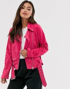 Байкерская куртка из искусственной замши Glamorous - Розовый
