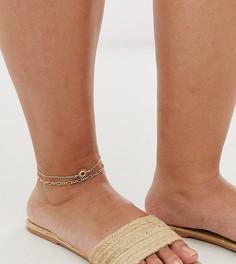 Набор золотистых браслетов с цепочками и подвеской-солнцем ASOS DESIGN Curve - 2 шт. - Золотой