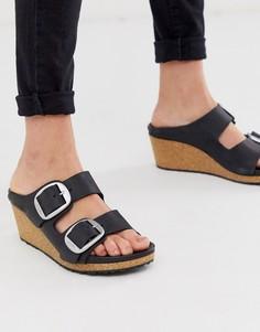 Черные сандалии на танкетке с пряжками Birkenstock - Nora - Черный