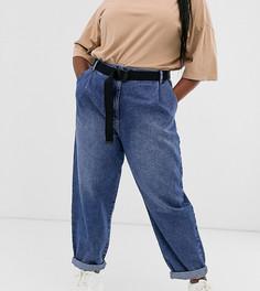 Зауженные джинсы бойфренда с ремнем ASOS DESIGN Curve - Синий