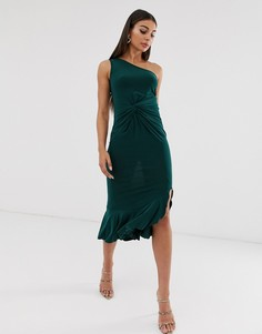 Платье на одно плечо с оборками Club L London - Зеленый