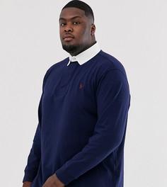 Темно-синее поло с длинными рукавами и логотипом Ralph Lauren Big & Tall - Темно-синий