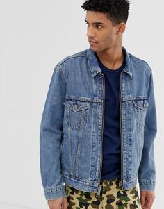 Мраморная джинсовая куртка на молнии Levis YOUTH type 3 - Черный