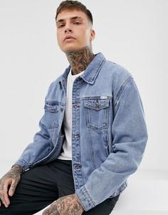 Синяя выбеленная джинсовая oversize-куртка Liquor N Poker - Синий