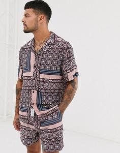 Комбинируемая фиолетовая рубашка с короткими рукавами и геометрическим принтом Native Youth - Фиолетовый