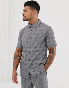 Черная комбинируемая рубашка в клетку с короткими рукавами Native Youth - Черный