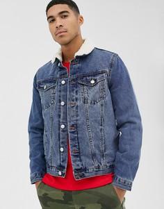 Синяя выбеленная джинсовая куртка с подкладкой из искусственного меха New Look - Синий