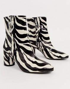 Ботинки на молнии с зебровым рисунком ASOS DESIGN Charlotte - Мульти