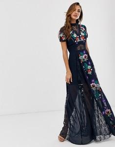 Платье макси с вышивкой и короткими рукавами Frock & Frill - Черный