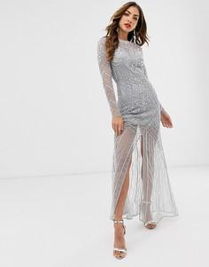 Платье макси с длинными рукавами Frock & Frill - Серый