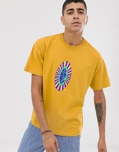 Желтая футболка с логотипом на груди Obey Psyche - Желтый