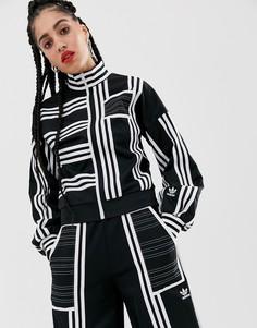 Черная спортивная куртка с объемными рукавами и полосками adidas Originals x Ji Won Choi - Черный
