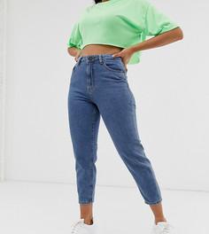 Укороченные джинсы в винтажном стиле с контрастными швами Noisy May Рetite - Синий