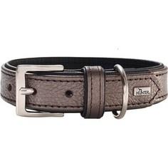 Ошейник Hunter Collar Capri Pearl 45 (33-39см) натуральная кожа коричневый перламутр/черный для собак