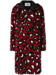 MSGM пальто с леопардовым принтом