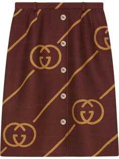 Gucci юбка на пуговицах с узором Interlocking G