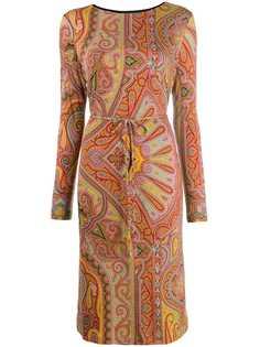 Etro платье-миди с узором пейсли