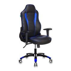 Кресло игровое БЮРОКРАТ VIKING-3, на колесиках, искусственная кожа, черный/синий [viking-3/bl+blue]