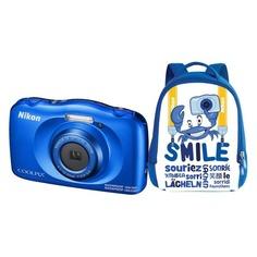 Цифровой фотоаппарат NIKON CoolPix W150, синий, рюкзак