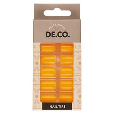 Набор накладных ногтей DE.CO. NEON orange 24 шт+ клеевые стикеры 24 шт Deco