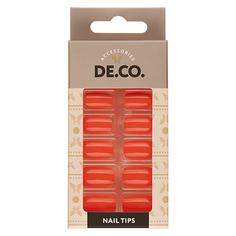 Набор накладных ногтей DE.CO. VIVID living coral 24 шт+ клеевые стикеры 24 шт Deco