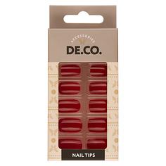 Набор накладных ногтей DE.CO. VIVID jester red 24 шт+ клеевые стикеры 24 шт Deco