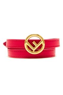 Кожаный браслет с логотипом Fendi