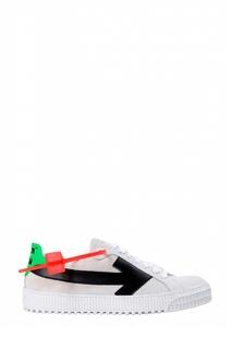 Белые кроссовки с контрастной отделкой Off White