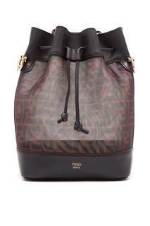 Черно-бордовая сумка Mon Tresor с монограммами Fendi