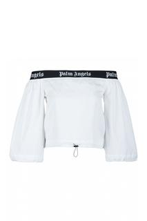 Белая блузка с открытыми плечами Palm Angels