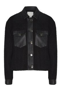 Черная вязаная куртка с отделкой Sandro