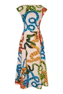 Платье без рукавов с узором Escada